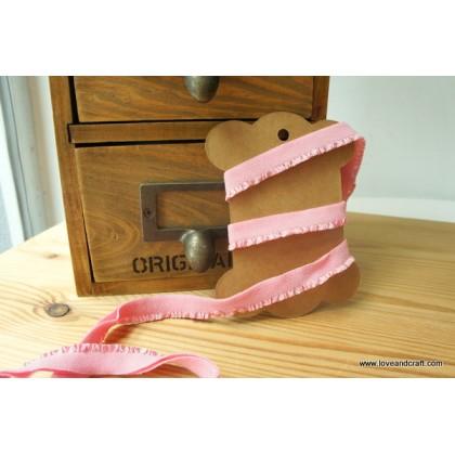 *700540* Elastic band: Flowery pink ruffles